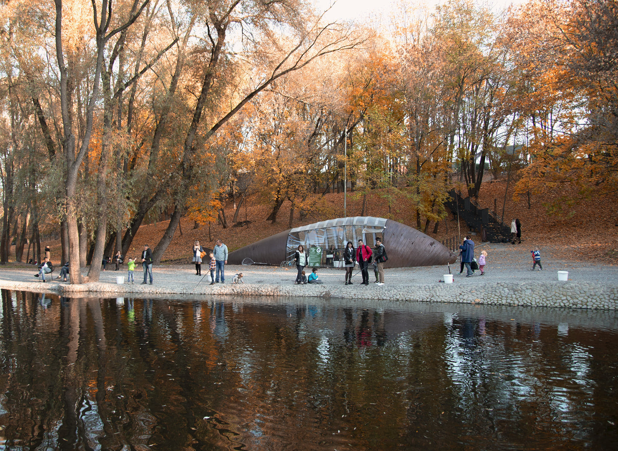 Scandinavian Design in the Eastern-European Park in Kharkiv, Ukraine
